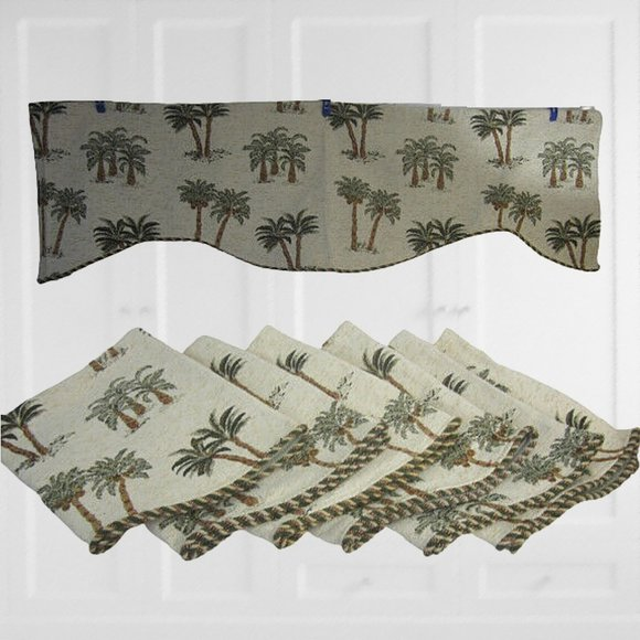 Vintage Other - 6 Drapery Valances tapestry fabric palm tree 56x16